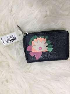 Fossil card leather floral dark blue