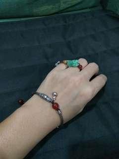 紅瑪瑙銀配件設計手鍊~
