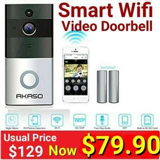 Wireless Smart WiFi Video Door Bell. Usual Price: $129 Special : $89.90 (Battery Operated + 2 way video comm) (Brand New in Box & Seaed) what'sapp 85992490 to collect today.
