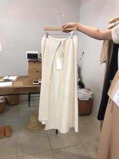 韓版 一片裙 長裙 不規則 裙子 亞麻材質