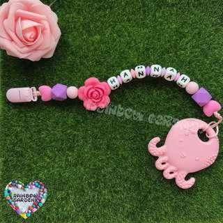 Handmade Customized Pacifier Clip with letter beads + Pastel Pink Octopus teether