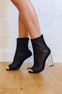 Billini mesh boots rakelle clear heel