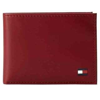 Tommy Hilfiger Men's Dore Leather Wallet With Removable ID Passcase (Black/Red/Green)