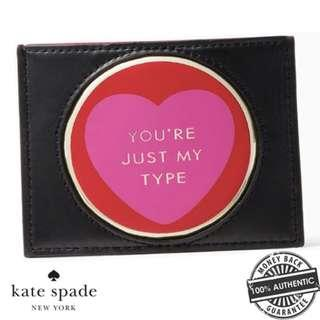 NEW Kate Spade Women's You're Just My Type Card Holder Case Pouch (Black and Pink)