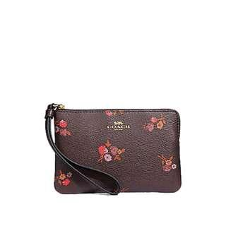 🚚 NEW ARRIVAL Coach Small Single Zip Wristlet Melody Bouquet Print Brown with Gift box