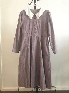 Japan merry Jenny vintage style burgundy checked Long Sleeves Long dress