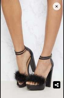 Pretty little thing PU platform fluffy heels fits 6-6.5-7