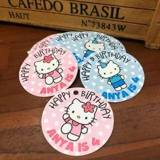 Hello kitty hang tags for birthday party goodie bag customised baby shower 100 day wedding engagement