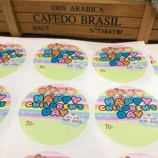 Customised children day stickers labels