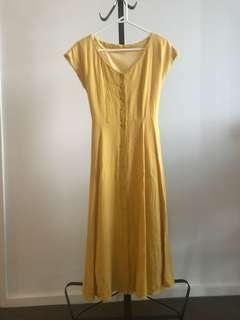 Japan jouetie vintage style mustard yellow button down tie back long dress