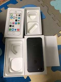 Iphone 7 and Iphone 5s box