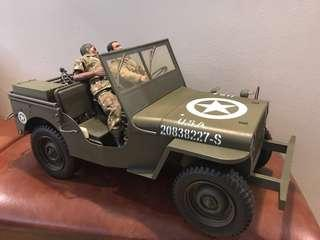 1/6 Army Jeep with multiple weapons and 2 figures