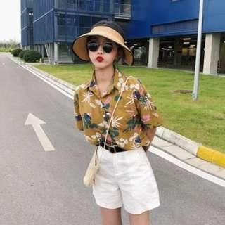 1a11426fd BNWT mustard yellow button up ulzzang korean style oversized tee shirt t  top floral flower print
