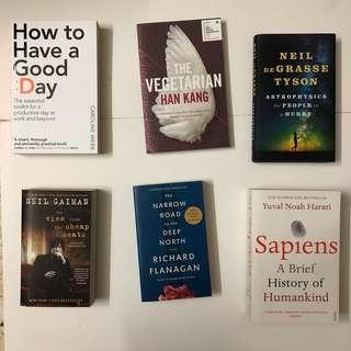 Sapiens, Narrow road to the deep north, view from the cheap seats, how to have a good day, the vegetarian, astrophics for people in a hurry