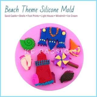 🏖 BEACH • SUMMER THEME SILICONE MOLD [Sand Castle • Light House • Shells • Windmill • Foot Prints • Ice Cream]
