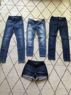 Bulk Maternity jeans & denim shorts size 6 Xs Jeans West Soon Maternity