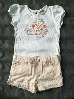 Poney 3-4y Short Sleeved T-Shirt & Pants Set #3x100
