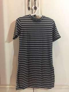 unbrand - grey stripe mini dress