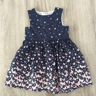 Midnight Blue Butterflies Baby Girl Dress