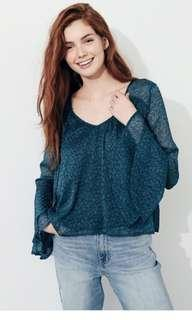 Hollister Teal Turquoise Blue Soft Bell Sleeve Top Blouse