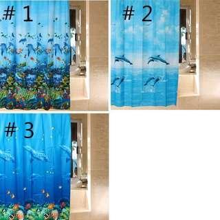 🚚 Fashion Opaque Photo Real EVA Ocean Style Blue Shower Curtain