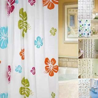 🚚 Various Fabric Bathroom Shower Curtain with Ring Hooks Set Waterproof 180x200cm