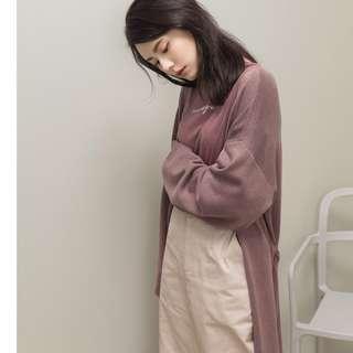 🚚 全新 meierq 不收邊針織開襟罩衫(附綁帶) 藕粉