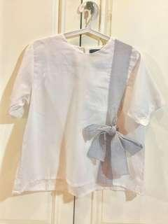 Shopataleen - Allura Top White with Blue Ribbon