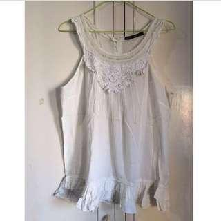 ZARA White Lace Embroidered Top