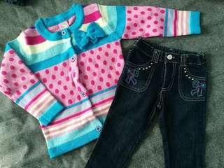 Sweet & Soft Long Sleeve Cardigan + Jeans Set #3x100