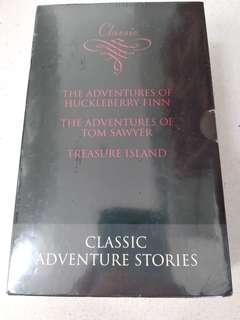 Classic 3 books Huckleberry Finn, Tom Sawyer, Treasure Island. Brand new sealed