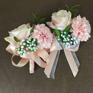 結婚絲花襟花手花 wedding event corsage buttonhole
