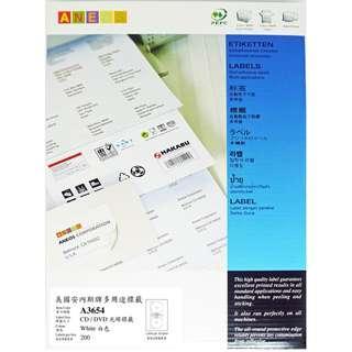 ANEOS Label A3654 : CD-ROM Maxi 116 mm, 一開2格, 每盒200個