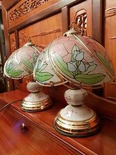 Vintage retro touch glass porcelain  lamp 2pcs a pair