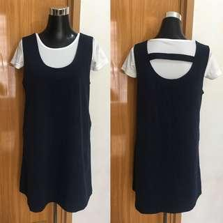 Dark Blue Pinafore Dress