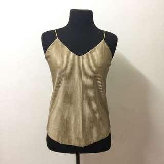 Gold Pleated Tank Top