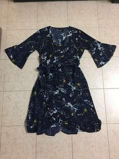 Floral Dress Knee Length Navy Blue