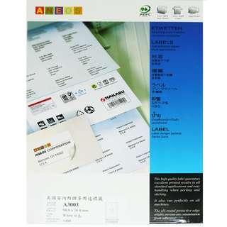 ANEOS Label A3003 : 98.0 x 38.0 mm, 一開14格, 每盒1400個