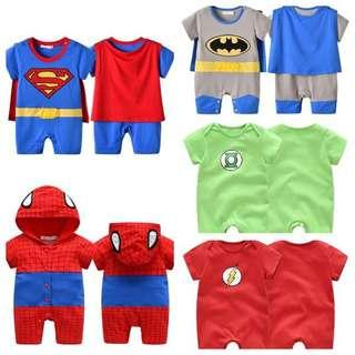 IN STOCK Superhero baby costume romper Spiderman costume flash costume Batman costume green lantern costume Superman costume Spiderman costume