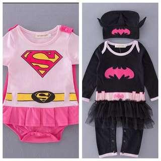 IN STOCK Baby romper baby superhero romper female superhero romper baby girl superhero costume romper children's day costume Halloween costume Supergirl costume batgirl costume