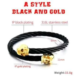 Skull gold patern bangle bracelet high quality stailes steel 316 bangle bracelet