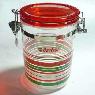 "CASTROL MOTOR OIL Promo FOOD CONTAINER JAR Metal Lock Malaysia 5.75"" Tall Stripes"