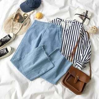 [PO]Full Set (Stripe Shirt + Denim Wide Trousers)