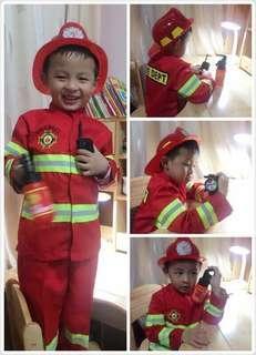 Ready Stock Fireman Firefighter Costume, Helmet, Walkie Talkie, Fire Extinguish, Compass Toys, Hammer, Belt