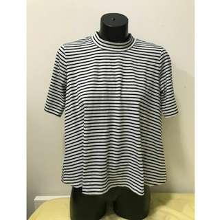 Atmos & Here Boxy Black & White Stripe High Neck Shirt