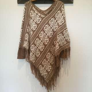 Real Wool Brown & White Soft Feel Poncho