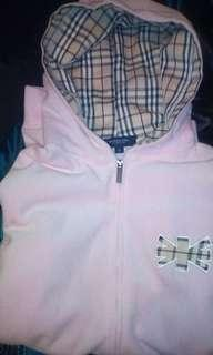 Authentic Burberry london pink zip hooded top