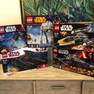 MISB Lego 75054 75102 75149 75172 75179 Star Wars AT-AT Poe's X-Wing Starfighter Resistance X-Wing Fighter Y-Wing Starfighter Kylo Ren's TIE Fighter