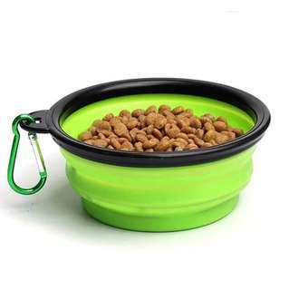 Portable pet food water bowl silicon foldable