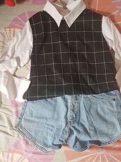 grid top korean style + denim shorts